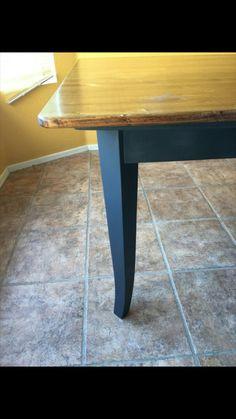 Refurbished Dinning Room Table, Pine Top, Gray Bottom