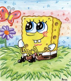 Spongebob and butterfly :) by SpongePersa on DeviantArt Patrick Spongebob, Spongebob Pics, Spongebob Drawings, Cartoon Drawings, Cartoon Art, Cute Drawings, Spongebob Iphone Wallpaper, Cartoon Wallpaper, Trippy Pictures