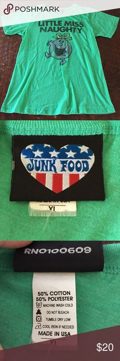 XL Little Miss Naughty Junk Food Graphic Tee This Junk Food Graphic tee is a Juniors XL. Lightweight and super cute, this tee is in excellent condition, with the only real sign of wear being the fraying size tag, which is visible in pics. Comes from a Smoke Free/Feline Friendly home. Any questions, just ask. Always open to offers. Junk Food Tops Tees - Short Sleeve