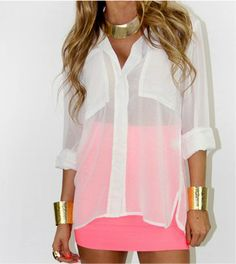 summer sheer top and bright pink skirt. LOVE IT!