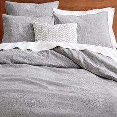 Belgian Flax Linen Melange Duvet Cover + Shams- king duvet cover and two standard shams