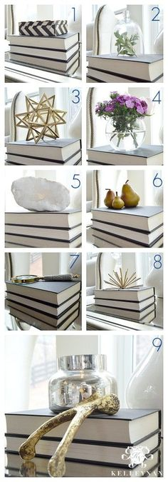 Kelley Nan: 9 Go-To Book Toppers- Ideas and ways to decorate with books and use books in a vignette KELLEYNAN.com