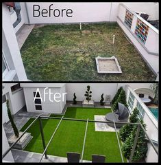 Before after garden, gardendesign Tennis, Garden, Diy, Home, Houses, Garten, Bricolage, Lawn And Garden, Ad Home