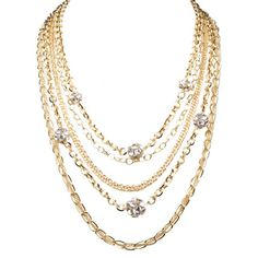 Multi-strand chain necklace with sparkling rhinestone accents   JUMP THE FENCE