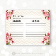 printable recipe card bridal shower chevron u0026 rose instant download retro rustic vintage shabby chic recipes cooking cards