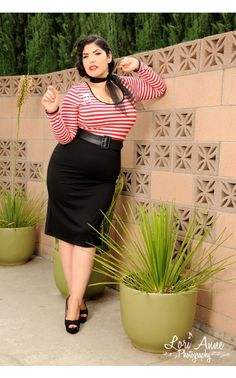 Hotrod Honey Dress in Red and White Stripe Knit - Plus Size - Plus Size - Clothing   Pinup Girl Clothing