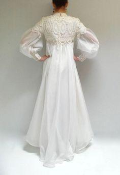 ヴィンテージウェディングドレス 196295858 60s EmmaDombトレーンなし