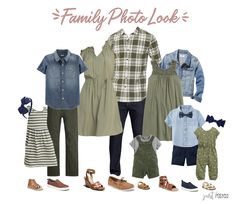 family photo outfits Are you looking for what to wear for family pictures? This olive, navy and chambray look is perfect! I've got you covered in this post with 4 different family Fall Family Picture Outfits, Spring Family Pictures, Family Pictures What To Wear, Family Picture Colors, Family Portrait Outfits, Winter Family Photos, Family Pics, Family Posing, Family Portraits