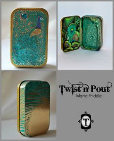 Altered Altoid tin   I did my best to capture the spirit and beauty of the proud peacock in this Pretty as a Peacock Altered tin.