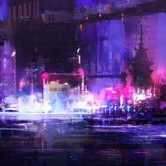 Hong Kong 2078 - Cyberpunk Environment Sketches, Daniel Comerci on ArtStation at https://www.artstation.com/artwork/AWO65