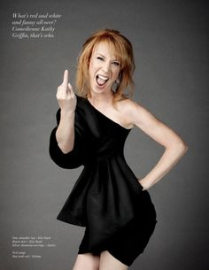 What's red and white and funny all over? =Kathy Griffin :)