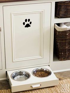 Keep pet areas contained and out of the way. This all-in-one pet station keeps the kitchen clutter-free with plenty of cabinet space for storing pet food, toys, and more. A sliding drawer beneath the cabinet was fitted for feeding bowls, which slide out of sight while entertaining.