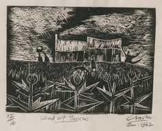 Land of thorns South African Art, Art And Architecture, Printmaking, City Photo, Illustration Art, Fine Art, Black And White, Masters