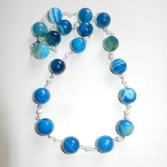 Sapphire Blue Agate and White Shell Statement  by CloudNineDesignz, $35.00