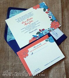 Love these navy and coral wedding invitationsbut I would use cobalt