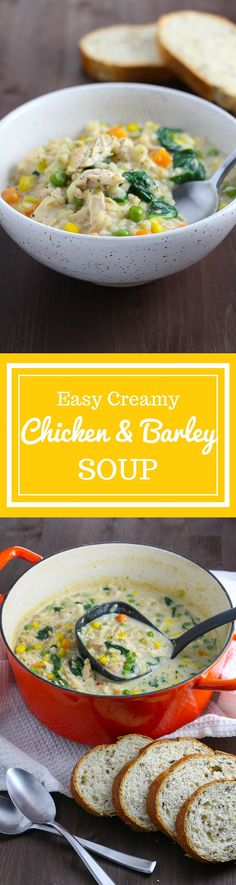 Easy Creamy Chicken & Barley Soup | flatland fresh food - an easy one pot meal that uses leftovers and pantry staples on the table in 30 minutes!