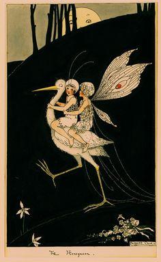 """Margaret Clark stork and fairies illustration - """"The Honeymoon"""" Illustration Simple, Children's Book Illustration, Art Magique, Australian Painters, Kobold, Inspiration Art, Poster Art, Vintage Fairies, Alphonse Mucha"""