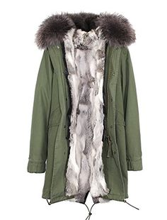 9e19180171693 Melody Womens Army Green Large Raccoon Fur Collar Hooded Long Coat Parkas  Outwear Rabbit Fur Lining Winter Jacket XXLarge Gray White     Want  additional ...