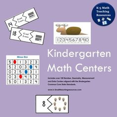 Kindergarten Math Centers contains 160 Math Centers for Number, Geometry, Measurement and Data aligned with the Common Core State Standards. Download this 570 page resource now and have all the Math Centers youll need for the entire school year in one convenient digital file!