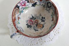 Antique Tea Cup Handpainted Floral Home Decor by CakeNumber9