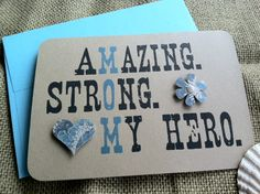 MOM - Amazing. Strong. My Hero. - Recycled Kraft - Love - Flower - Mother's Day - ON SALE. $4.00, via Etsy.