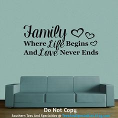 This vinyl wall decal is available in multiple sizes, please choose your preference when purchasing.  Family Where Life Begins And Love Never Ends Inspirational With Hearts - vinyl wall decal.  Personalized Word Art Vinyl Wall Decal by TeesAndSpecialties
