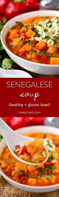 Senegalese Soup is a healthy, gluten-free soup recipe that's chock-full of sweet potatoes, chickpeas, warming curry and coconut milk. Easy, quick, and delicious! | iowagirleats.com