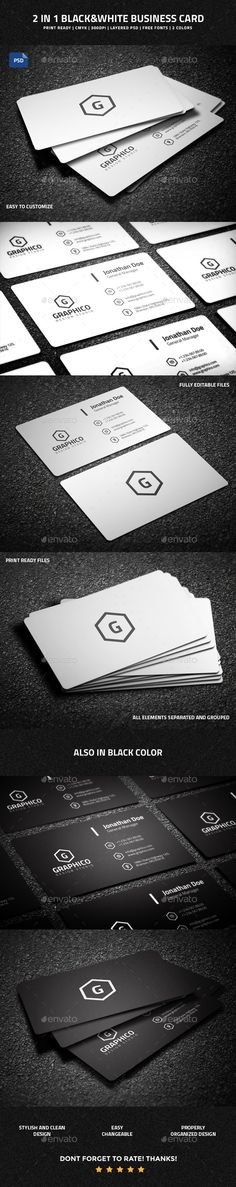 2 in 1 Black & White Business Card - 53 #businesscard #psdtemplate #corporate #creative #printready #business #elegant #original #personal #smart #simple #trendy
