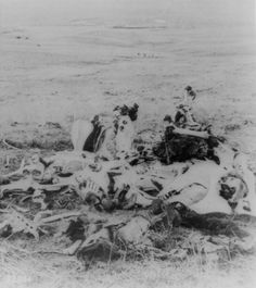 """Scene of Gen. Custer's Last Stand, looking in the direction of the ford and the Indian village."""" A pile of bones on the Little Big Horn Battlefield is all that remains, ca. 1877."""