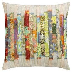 patchwork pillow-use hand painted fabrics