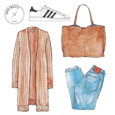 """Good Objects Illustration on Instagram: """"Good objects - Neutrals outfit. Acne studios cardigan @acnestudios , Adidas Superstar sneakers @adidasoriginals , Levis jeans @levis , Nordstrom Tote @nordstrom #goodobjects #illustration"""""""