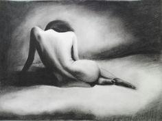 #practice #coal #drawing #nude #bedsheet #figure