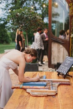 DIY Texas wedding guestbook, handmade by the groom | Photo by: Urban Grey Photography