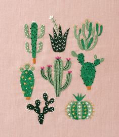 Embroidery Designs, Cactus Embroidery, Crewel Embroidery Kits, Embroidery Flowers Pattern, Simple Embroidery, Embroidery Transfers, Japanese Embroidery, Ribbon Embroidery, Machine Embroidery