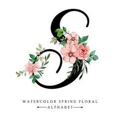 Logo Floral, Flower Letters, Flower Frame, Alphabet Wallpaper, Monogram Wallpaper, Stylish Letters, S Love Images, Hand Drawn Flowers, Lettering Design