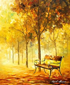 0635 Lost Bench 2 - Palette Knife Oil Painting On Canvas By Leonid Afremov Print by Leonid Afremov
