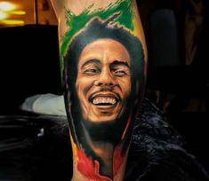 3 color tattoo artwork of Bob Marley motive done by tattoo artist Ruben Barahona Color Tattoo, I Tattoo, Tattoo Drawings, Future Tattoos, Tattoos For Guys, Body Art Tattoos, Tatoos, Portrait Tattoos, Bob Marley Pictures