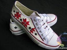 Tenisi pictati cu motive traditionale romanesti - Piticool, handmade Converse, Sneakers, Shoes, Art, Fashion, Tennis, Art Background, Moda, Slippers