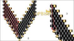 Black&Gold Beaded Earrings. Tutorial. Pattern 2