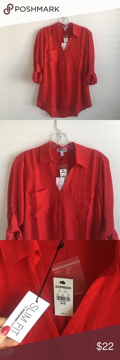 New Express Portofino Slim Shirt M Red, new with tags! Never tried on! Flawless condition! Convertible sleeves. Express Tops Button Down Shirts