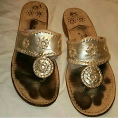 Jack Rogers sandals Jack Rogers sandals I actually have two pairs and in each one of the pair's the song is broken off so this pair one pair is fine and the other pair of the song by the toe is tore off it could be possibly fixed by a cobbler I'm selling it as is Jack Rogers Shoes Sandals