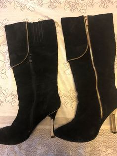3559f315693d Avon Mark Suede Black Boots with Gold heels and trim  fashion  clothing   shoes