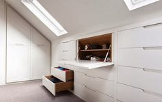 blog on interiors for children, inspiration: Several ways of development slants. Wardrobe and bookcase in the attic.