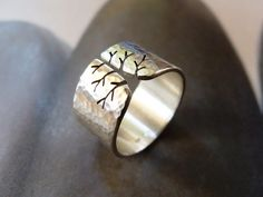 Fall tree ring Sterling silver ring wide band ring by Mirma