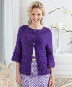 Gilet torsades et manches Ravelry: Yoke & Lace Cardi pattern by Jodi Snyder Knitting Stitches, Knitting Designs, Knitting Patterns Free, Knit Patterns, Free Knitting, Free Pattern, Crochet Jacket, Crochet Cardigan, Knit Or Crochet