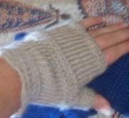 Nalbinding patterns - mittens, socks, hat, beret, decorations - on Geocities at http://www.geocities.com/alixtiberga/Patterns.html