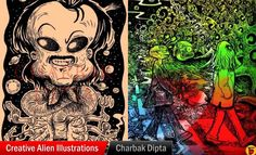 10 Creative Alien Illustrations by Indian Artist Charbak Dipta http://myartmagazine.com/illustration | Art Magazine http://myartmagazine.com | Follow us www.pinterest.com/myartmagazine