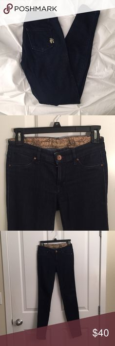 Size 25 Dark Wash Rich & Skinny Jeans Love the skinny jeans because they are a dark wash that keep their dark color!!! So comfy with good stretch. Logo on back pocket! Rich & Skinny Jeans Skinny