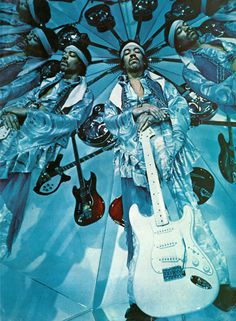 Jimi Hendrix in a room of mirrors
