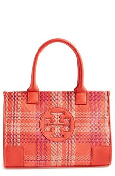 Tory Burch 'Ella' Plaid Tote available at #Nordstrom